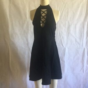 Express Mini Black Halter  Dress Black  Size M NWT